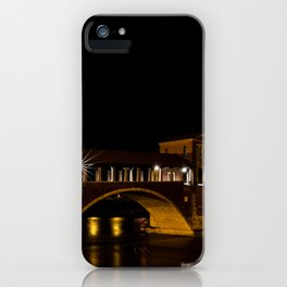 Night photography of the Ponte Coperto of Pavia, historical building also called Ponte Vecchio built iPhone Case
