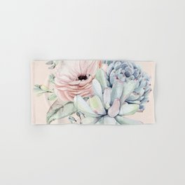 Elegant Blush Pink Succulent Garden by Nature Magick Hand & Bath Towel