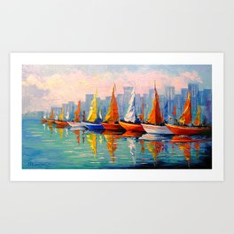 Sailboats in the Bay Art Print