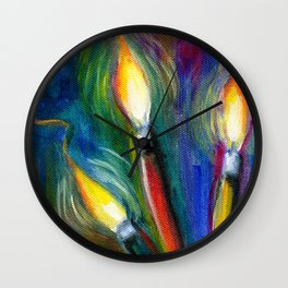 Illuminated Paintbrushes Wall Clock