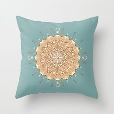 Sand and Turquoise Seashore Mandala Throw Pillow
