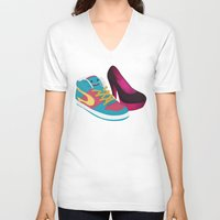 shoe V-neck T-shirts featuring Shoe Lovin' by mrbiscuit