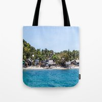 philippines Tote Bags featuring Chapel Reef at Apo Island Philippines by Jennifer Stinson