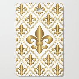 Gold Fleur-de-Lis Pattern Cutting Board