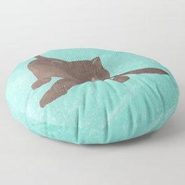 Happy kitten plays with a ball - minimalist illustration Floor Pillow