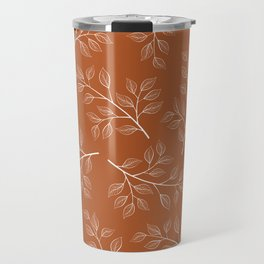 Delicate White Leaves and Branch on a Rust Orange Background Travel Mug
