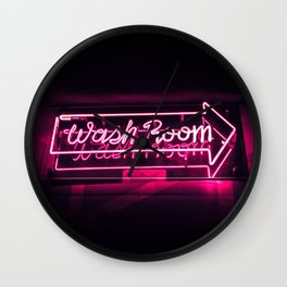 Wash Room - Neon Sign Wall Clock