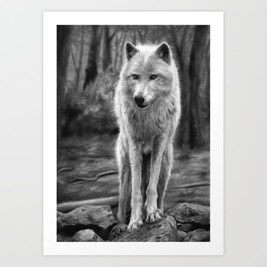 White Wolf in the Forest Art Print
