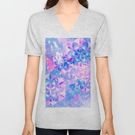 Flower-of-Life Paint Pattern Blue Unisex V-Neck