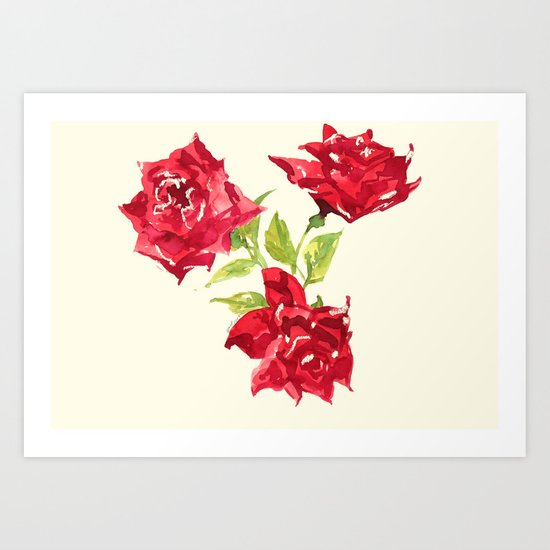 Three Red Roses Art Print