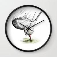 golf Wall Clocks featuring  Golf  by Eyad Shtaiwe