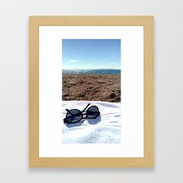 see, sun glasses, calm , beach , summer Framed Art Print