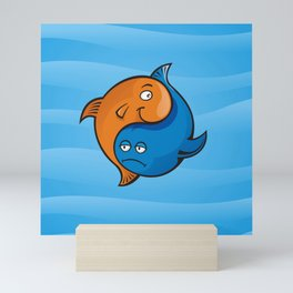 Yin Yang Fish Cartoon Mini Art Print