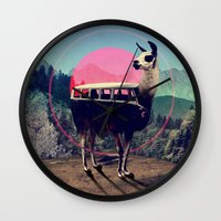 people Wall Clocks featuring Llama by Ali GULEC
