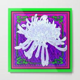 WHITE SPIDER  MUM ON PURPLE-GREEN  PATTERN Metal Print