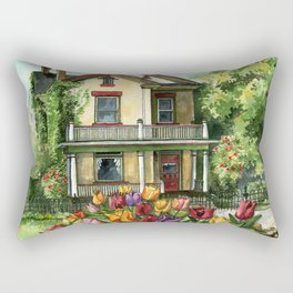 Victorian Eclectic with Spring Tulips Rectangular Pillow
