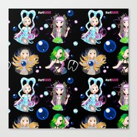 artrave Canvas Prints featuring #artRAVE Pattern by Aldo Monster