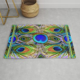 NOUVEAU BLUE-GREEN PEACOCK FEATHERS ON LILAC Rug