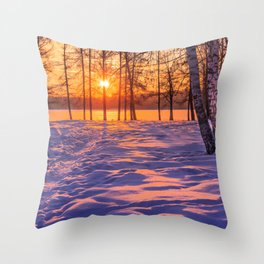 view through the pines Throw Pillow