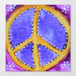 Golden Peace Sign Canvas Print