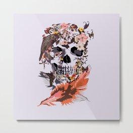 Birds, butterfly and Sugar Skull Metal Print