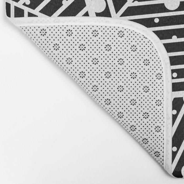 Abstraction Spots Close Up Black Bath Mat