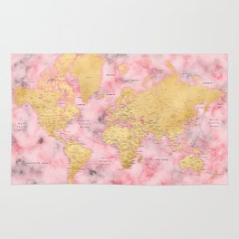 Gold and pink marble world map Rug