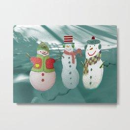 Three Jolly Snowmen Metal Print