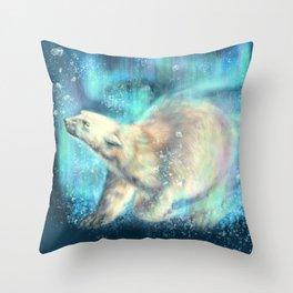 Floating polar bear Throw Pillow