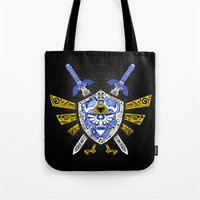 the legend of zelda Tote Bags featuring Heroes Legend - Zelda by Art & Be