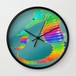 Gemmed Rainbow SeaHorse Wall Clock