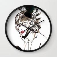 monroe Wall Clocks featuring Monroe  by AnneSinclair11