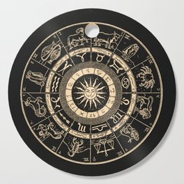 Vintage Zodiac & Astrology Chart | Charcoal & Gold Cutting Board