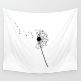 Dandelion Black and White Wall Tapestry