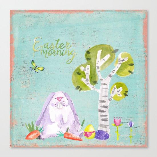 Easter Morning I- Animal Rabit Hare Bunny Spring for children Canvas Print