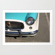 Vintage Car Headlight - Teal and Cream Metropolitan with Chrome Bumper Art Print