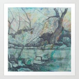 Tree By A Pond Art Print