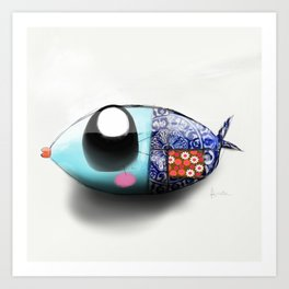 Blue Sardine Art Print