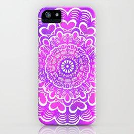 Heart Pattern Mandala - Detailed Ethnic Textured Painted Mandalas (Magenta, Pink, Purple) iPhone Case