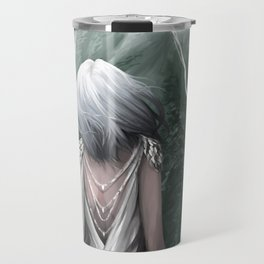 Girl  standing by a mountain Digital Art Painting Travel Mug