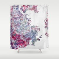 rio de janeiro Shower Curtains featuring Rio de Janeiro map by MapMapMaps.Watercolors