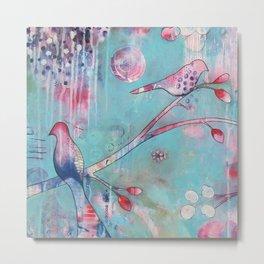 Sakura Birds Metal Print