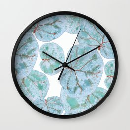 Sea Grape Tropical Leaves Wall Clock