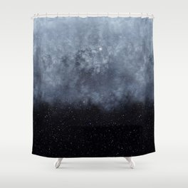 Blue veiled moon II Shower Curtain