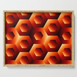 Fiery hexagons Serving Tray