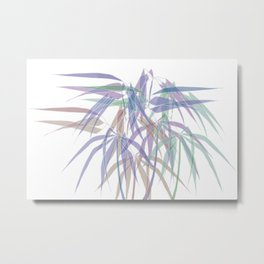 Bamboo Leaves - White Lines - Multycolor Metal Print