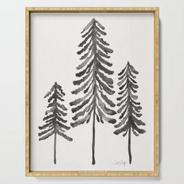 Pine Trees – Black Ink Serving Tray