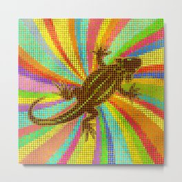 Aboriginal Colorful Dotart Chameleon/Lizard Metal Print
