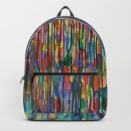 Bright Colorful Abstract Art with Red, Blue, Green, Purple, Yellow, Multicolor Striped Lines Backpack