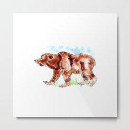 Bear Watercolor Metal Print